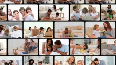 Montage of families enjoying moments at home — Stock Video