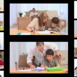 Stock Video: Montage of families doing homework