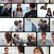 Royalty-Free Stock Vector Image: Montage of business people communicating