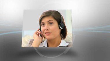 Montage of business making phone calls — Stock Video