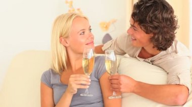 Couple toasting with Champagne — Stock Video #19862819