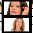 Montage of beautiful women making up — Stock Video