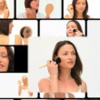 Montage of women putting make up — Stock Video