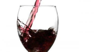 Red sparkling wine splash — Stock Video