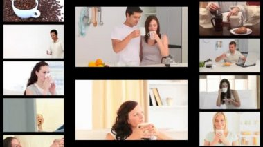 Montage of different drinking coffee — Stock Video