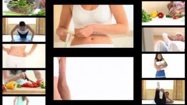 Montage de la femme fit un régime — Vidéo