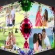 Stock Video: 3D Animation-Cube of Family Holidays