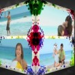 3D Animation-Cube of Family Beach Holiday — Stock Video