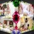Stock Video: 3D Animation-Cube of Families at home