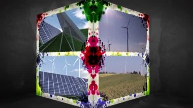 3D Animation-Cube of renewable Energy — Stock Video