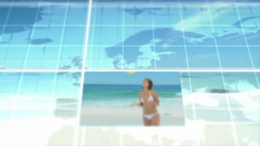 Animation 3d des couples à la plage — Vidéo