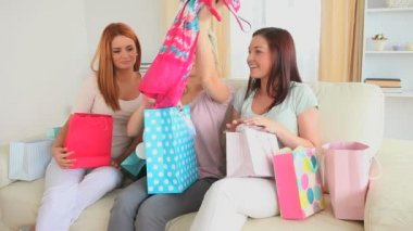Cute women happy with their shopping — Stock Video