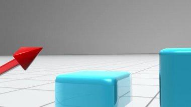 Blå stapeldiagram efter en röd pil — Stockvideo