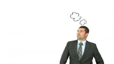 Podnikatel přemýšlet o relaxační — Stock video
