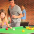 Handsome student teaching pool — Stock Video