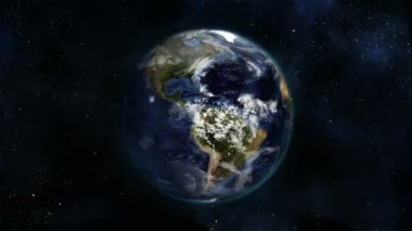 Cloudy Earth turning on itself with Earth image curtesy of Nasa.org — Stock Video