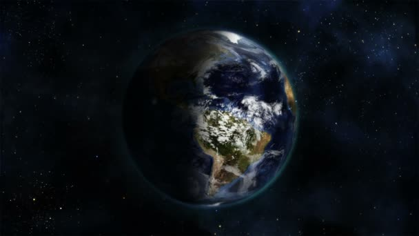 Sombreado y nublada tierra girando sobre sí misma con cortesia de imagen de tierra de nasa.org — Vídeo de stock
