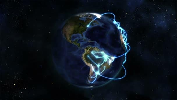 Tierra con conexiones azules girando sobre sí misma con imagen de tierra cedida por nasa.org — Vídeo de stock