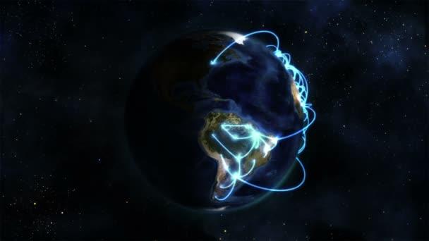 Tierra sombra con conexiones azules girando sobre sí misma con imagen de tierra cedida por nasa.org — Vídeo de stock