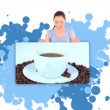 Woman showing a cup of coffee — Stock Video