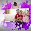 Woman showing a family at home — Stock Video #20422393