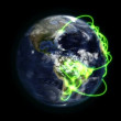 Cloudy Earth with green connections turning on itself with Earth image courtesy of Nasa.org — Stock Video