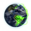 Green network on the Earth with moving clouds with Earth image courtesy of Nasa.org — Vídeo de stock