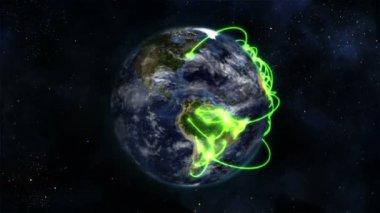 Earth turning on itself with moving clouds and green connections with Earth image courtesy of Nasa.o — Stock Video