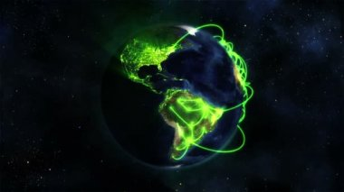 Lighted Earth turning on itself with green connections with Earth image courtesy of Nasa.org — Stock Video