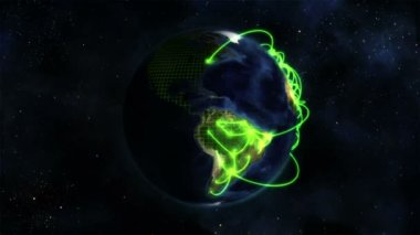 Shaded Earth turning on itself with grid and green connections with Earth image courtesy of Nasa.org — Stok video