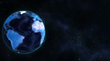 Blue planet globe turning on itself — Stok video