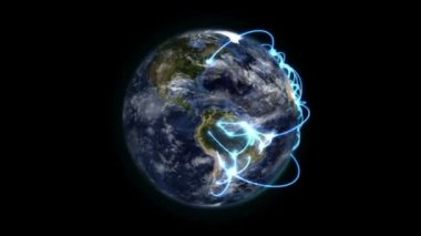 Earth with blue connections turning on itself with moving clouds with Earth image courtesy of Nasa.o — Stock Video