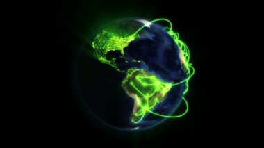 Shaded and lighted Earth with green connections in movement with Earth image courtesy of Nasa.org — Stock Video