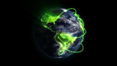 Green network on a lighted and shaded Earth with moving clouds with Earth image courtesy of Nasa.org — Stock Video