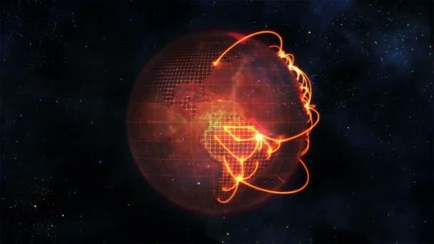 Globe animé en mouvement avec les connexions orange avec l'image de la source avec la permission de nasa.org — Vidéo