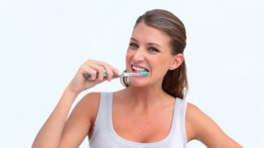 Woman brushing her teeth and smiling — Stock Video