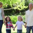 Family walking together — Stock Video