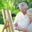 Stock Video: Retired couple painting together