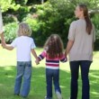 Family walking hand in hand — Video