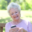 Stock Video: Retired womusing mobile phone