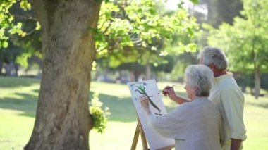 Mature couple painting trees — Stock Video