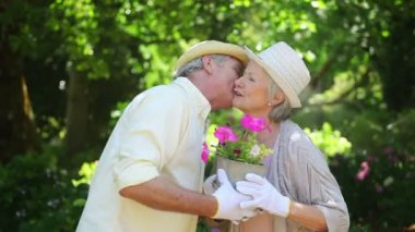 Mature couple holding a flowerpot together — Stock Video
