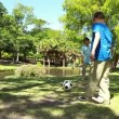 Smiling father and son playing soccer together — Stock Video #20840251