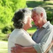 Smiling mature couple embracing each other - Stok fotoğraf