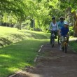 Stock Video: Happy family riding bikes on pathway