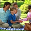 Happy family sitting on a blanket during a picnic — Stock Video