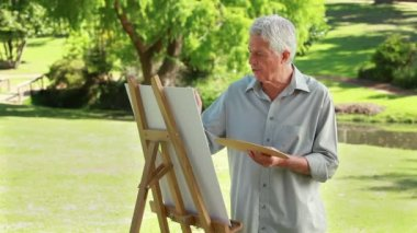 Serious mature man painting on a canvas — Stock Video