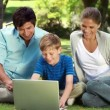 Happy family looking at a laptop while sitting on the grass — Stock Video