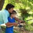 Happy father and son using a fishing rod — Stock Video #20869333