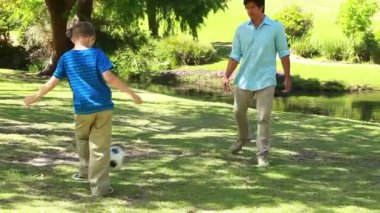 Smiling man playing soccer with his son — Stock Video